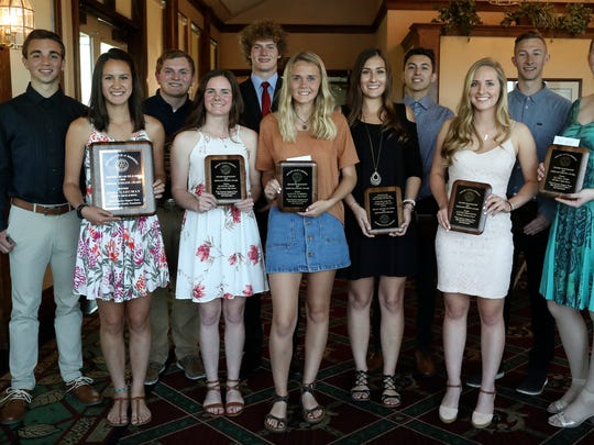 Finalists in the 2018 Scholar-Athlete scholarship program pose at Riverview Golf and Country Club where the male and female winners were announced Thursday. From left to right, the pictured finalists are Devin Murray of Burney, Dara Gaeuman of Trinity (winner), Dalton Nichols of West Valley, Quincie Cross of Mount Shasta, Brian Harper of Trinity (winner), Kailyn Carroll of West Valley, Kylee Kitchell of Red Bluff, Ian Garcia of Shasta, Jaycie Provence of Redding Christian, Thurman Knowles of Foothill and Elyssa Cook of Fall River. Another finalist, Jason Deaver of Enterprise, is not pictured because he had to compete in an EAL golf match at Riverview.