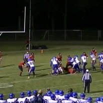A screenshot of Gillett senior Brian Zahn's interception of a spike attempt attempt to stop the clock by Crivitz senior quarterback Sebastian Atwood during a M&O Conference football game last Friday.