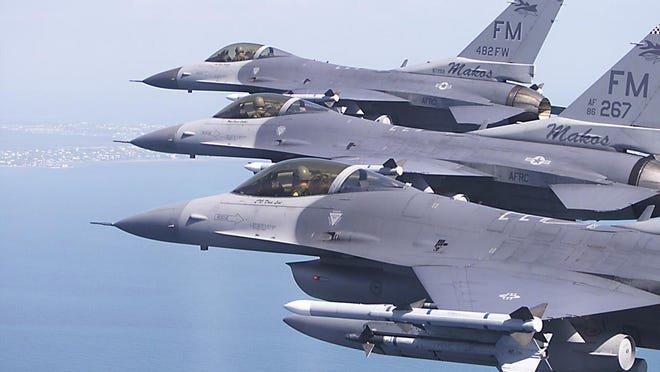 F-16C fighter jets from the Homestead Air Reserve Base.