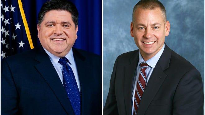 Illinois Governor JB Pritzker, left, and Illinois High School Association executive director Craig Anderson.