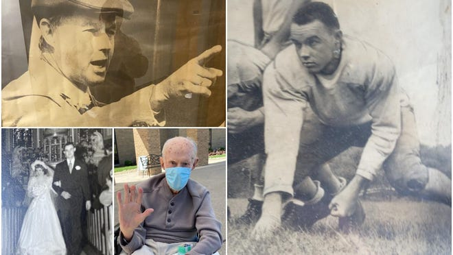 Various shots of Ed Dwyer, who died Wednesday at age 93, leaving a lasting legacy of volunteerism and devotion to Peoria area sports and youth.