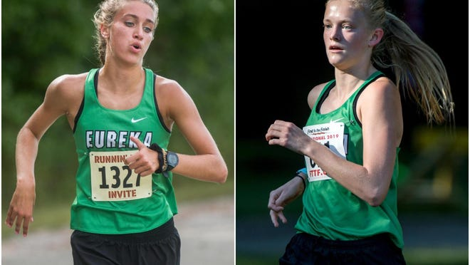 Eureka junior Anna Perry, left, and senior Alexi Fogo are two of the top cross country runners in the Peoria area. Fogo will miss the Class 1A Elmwood Sectional because of COVID-19 contact tracing.