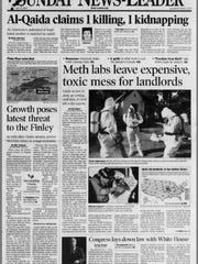 A 2004 News-Leader front page, featuring a story detailing the amount of cleanup required after the discovery of a meth lab.