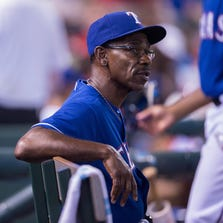Jul 11, 2014; Arlington, TX, USA; Texas Rangers manager Ron Washington (38) during the game against the Los Angeles Angels at Globe Life Park in Arlington. The Angels shut out the Rangers 3-0. Mandatory Credit: Jerome Miron-USA TODAY Sports