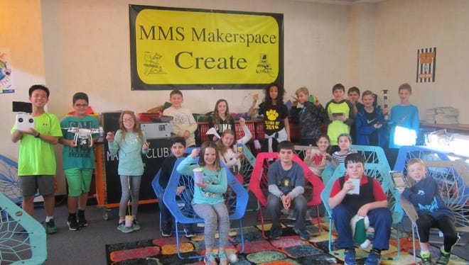 Students gather for this year's Memorial Middle School Makers Club in Cedar Grove.