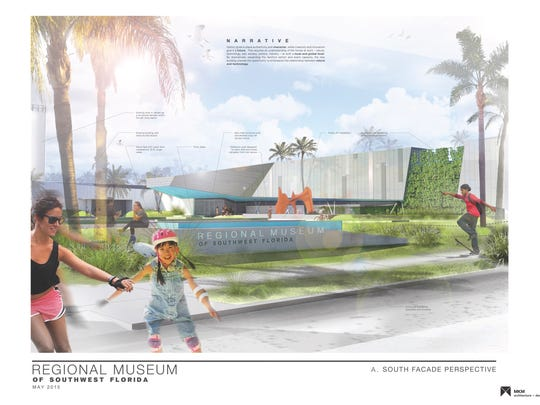"""An artist's rendering of an expanded and renovated Imaginarium, now renamed IMAG History and Science Center. This rendering has the place-holder title """"Regional Museum of Southwest Florida."""""""