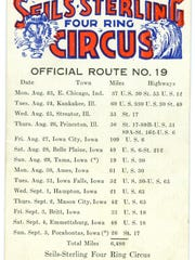 Seils Sterling Four-ring circus schedule for 1935.