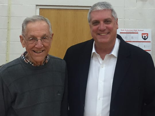 York Suburban boys' basketball coach Tom Triggs, right, added longtime local basketball coach Joe Hasenfuss, left, to his staff this season when Triggs returned for a second stint as the Trojans' coach.