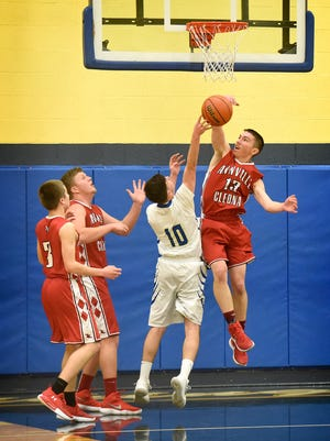 Northern Lebanon's Josh Bowers (10) hit for a game-high 17 points in the Vikings' win over Donegal last Friday.