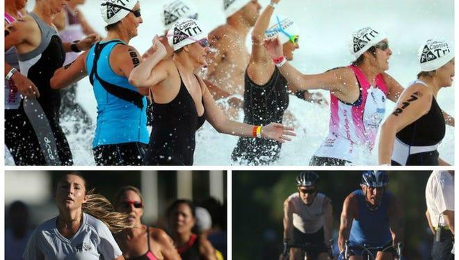 Contestants compete in the Galloway Captiva Triathlon on Sunday at South Seas Island Resort on Captiva.