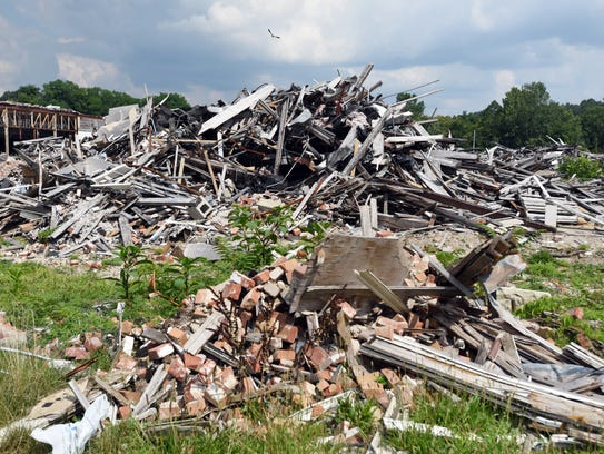 A sea of rubble marks the site of the former Lear building