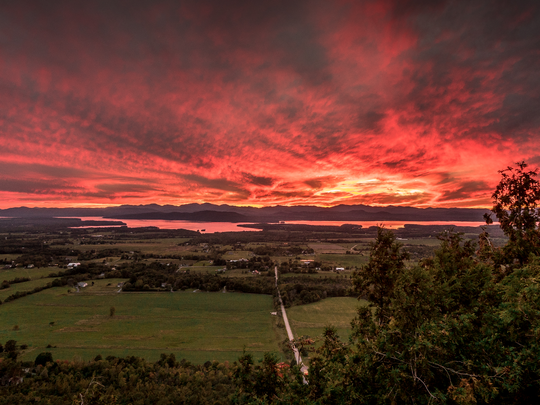 Monday's sunset as seen from Mt. Philo in Charlotte.