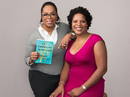Oprah Winfrey, left, with author Tayari Jones.