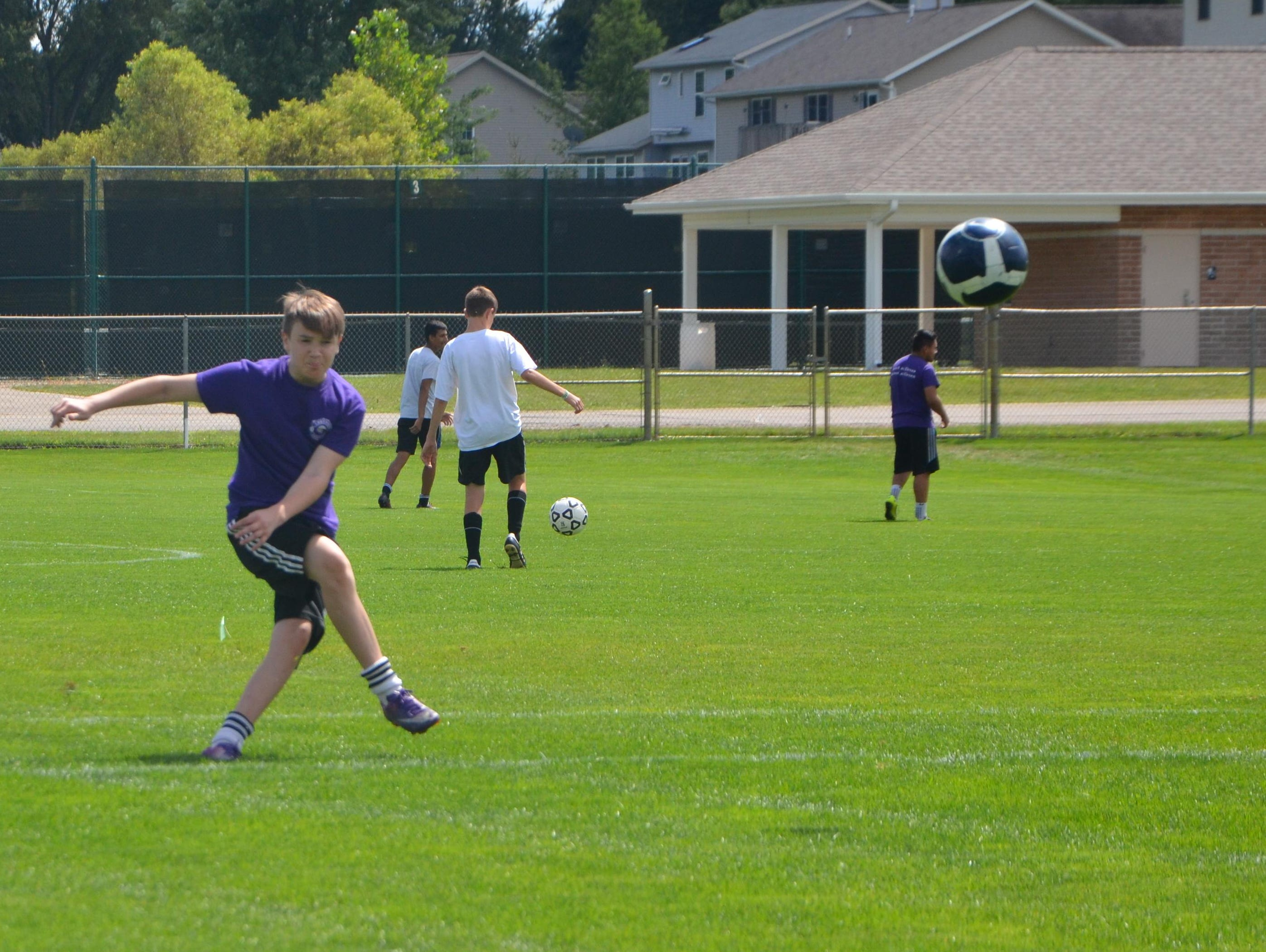 Lakeview's Kevin Mann kicks the ball during the first soccer practice of the season on Wednesday.