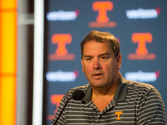 Tennessee interim head coach Brady Hoke speaks at a