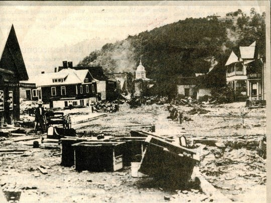 Main Street in Marshall shows the effects of the Great Flood of 1916.
