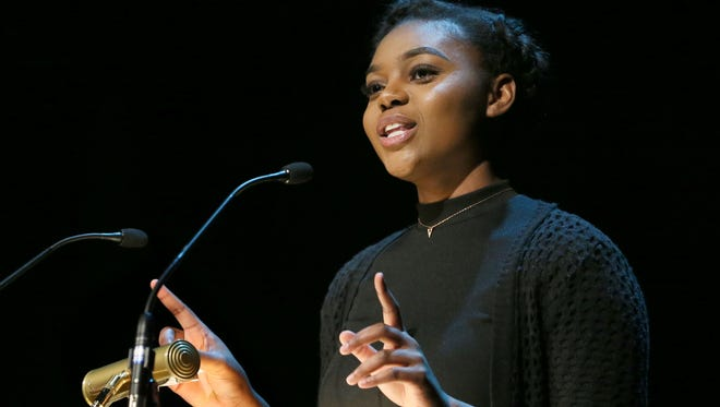 Maranda Brown of Eastbrook Academy delivers a winning speech at the 2017 celebration of Martin Luther King Jr.'s birthday at the Marcus Center. The 2018 celebration is this Sunday.