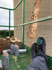 """A boom lift was Cameron Moberg's studio as he worked on this mural on the side of an 80-foot silo in Fowler. The project was part of Tippecanoe Arts Federation's """"Art in Rural Places"""" project."""