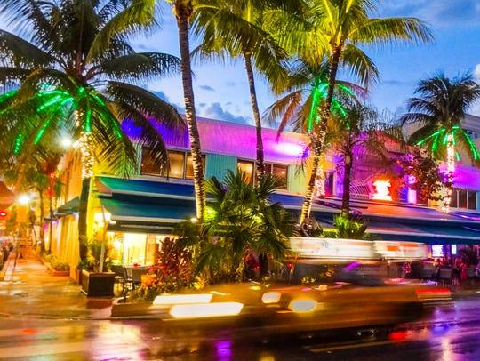 Nightlife of South Beach in Miami Beach.