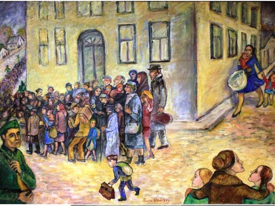 "Artwork included in the ""Two Regimes"" exhibit portrays life in Russia during World War II, including the mass roundup of Jews."
