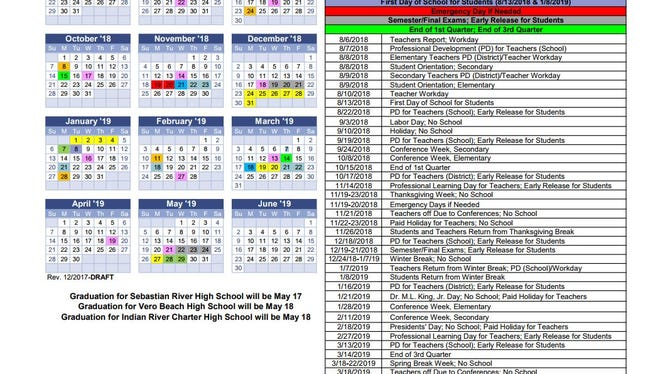 The proposed 2018-19 school calendar for Indian River County School District features a longer Thanksgiving holiday and later spring break.