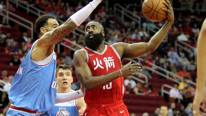 James Harden scored a game-high 28 points for the Rockets.
