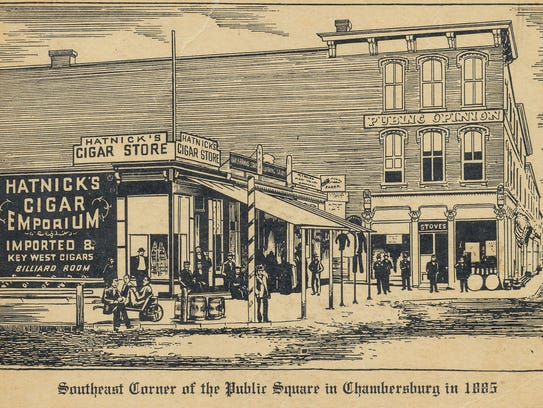 "Hatnick's Cigar Emporium was on the ""Diamond"" in 1885."