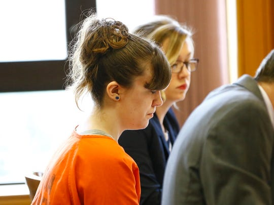 Ashlee Martinson awaits her sentence Friday morning in Oneida County court.