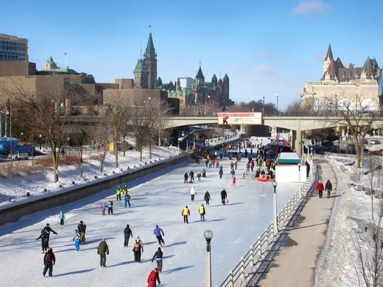 Full of kayaks and canoes in summer, the Rideau Canal in Ottawa, Canada will soon look like this. Thousands of people ice skate to work daily in the winter on this UNESCO World Heritage Site.