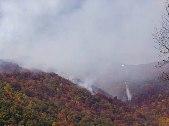 The U.S. Forest Service has banned all campfires as it battles wildfires such as this one in the Nantahala National Forest. The Smokies has banned fires in the backcountry.