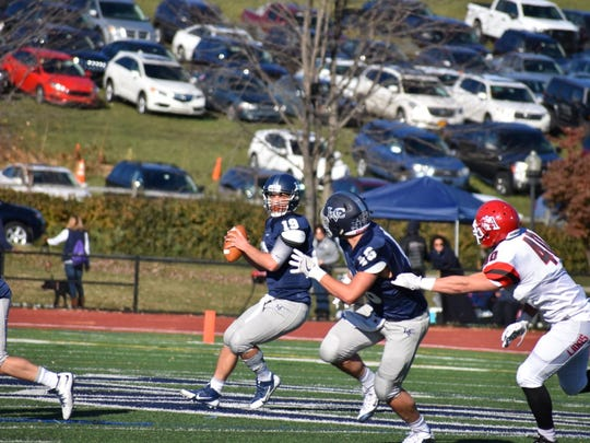 LVC's Tyler Sterner drops back to pass for a touchdown in the second quarter of the Flying Dutchmen's 28-25 win over Albright Saturday.