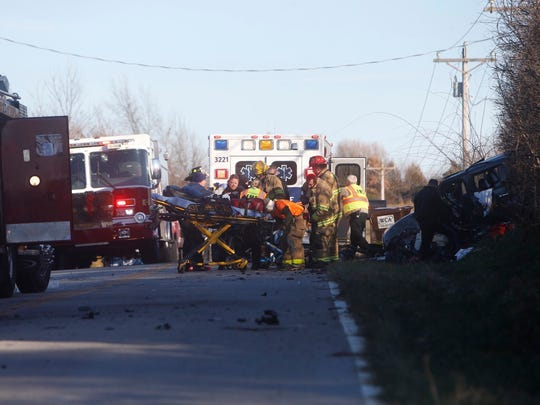 Firefighters and emergency personnel respond to a bad wreck on Farm Road 104 near Bois D'Arc.