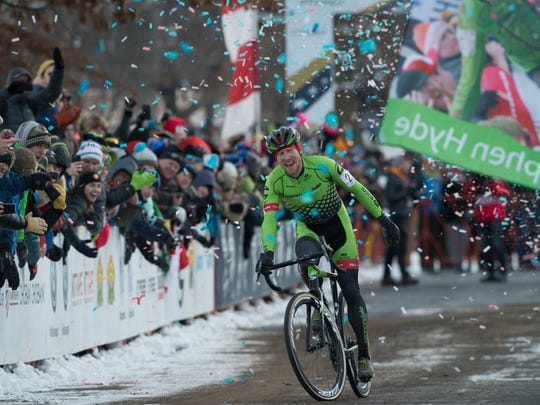 Milton native Stephen T. Hyde celebrates after winning the USA Cyclocross National Championship in Hartford, Connecticut on Jan. 8, 2017.
