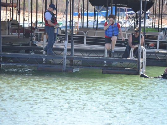 Joy Story representing Hartwell Service League takes a plunge for Victims of Domestic Violence.