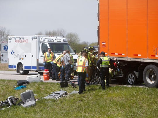 First responders on the scene of a fatality crash Monday