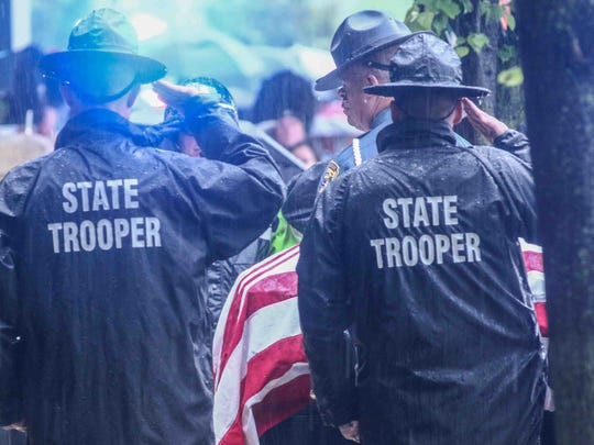 Many pay respects to Corporal Ballard who was laid to rest Friday, May 5, 2017, at Grace-lawn Memorial Park in New Castle.