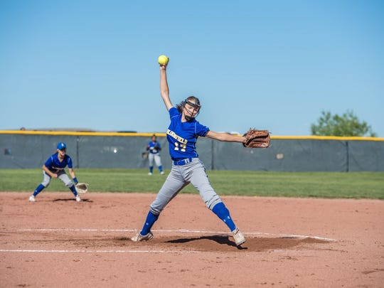 Bloomfield's Ashley Lewellen pitches against Roswell on Friday at on Friday at Cleveland High School in Rio Rancho.