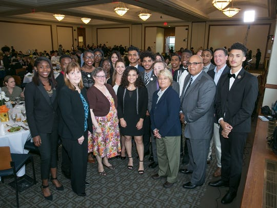 Olympic gold medalist Laurie Hernandez celebrates with the Youth of the Year nominees as well as supporters of Boys & Girls Clubs in New Jersey at the BGCNJ gala at Montclair State University.