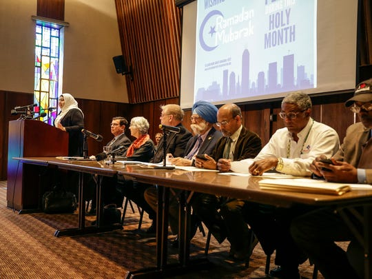 A panel of faith leaderes gathers for a press conference regarding the I-465 billboard at the Center for Interfaith Cooperation on Friday, June 9, 2017.