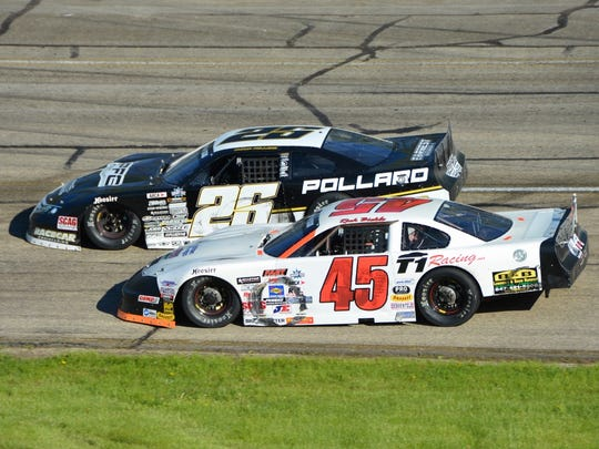 Rich Bickle (45) and Bubba Pollard race in the Joe Shear Classic at Madison International Speedway.