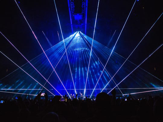 """Roger Waters' """"Us + Them"""" tour uses an elaborate laser"""