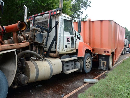 Bossier Sheriff's Deputies worked the scene of a crash involving three oilfield 18-wheelers that happened around 9 a.m. Wednesday morning on Highway 2, about two miles west of Highway 3 in Plain Dealing.