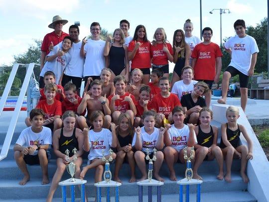 Bolts Aquatics team members were eager to celebrate