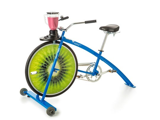 The smoothie bike will be appearing at Wauwatosa schools this year. This stationary bike powers a blender, which will be used to make smoothies during lunch. Photo courtesy General Mills.