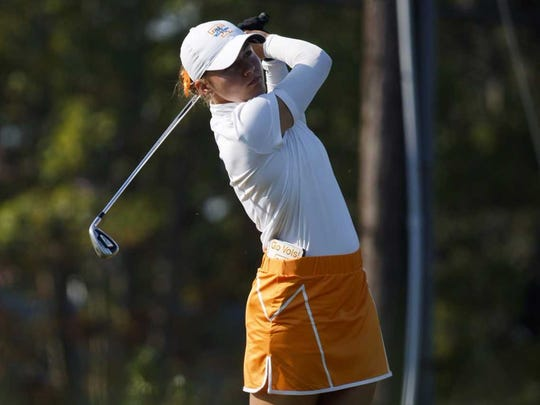 Anna Newell of the Tennessee women's golf team watches her shot during the Mercedes-Benz Collegiate Championship at Cherokee Country Club on Tuesday, Sept. 19, 2017.