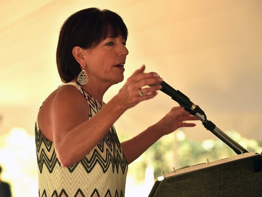 Carol Evans, Legacy Parks Foundation executive director, talks about the goals and mission of the organization at Legacy Parks' annual luncheon at the Seven Islands State Birding Park on Friday, Oct. 13, 2017.