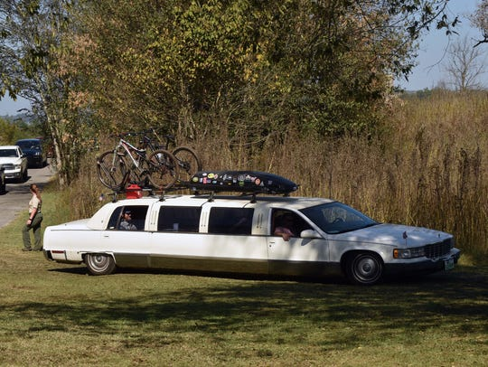 A stretch limo with a bicycle rack arrives at the annual Legacy Parks luncheon at the Seven Islands State Birding Park on Friday, Oct. 13, 2017. Alexandra Cousteau, award-winning filmmaker, National Geographic Explorer and global water advocate, was the featured speaker at the event.