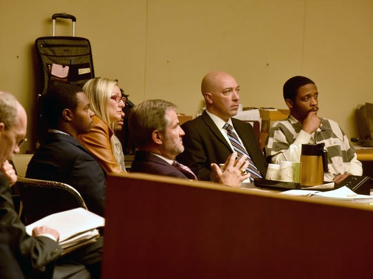 Defendants Christopher Drone Bassett and Richard Gregory Williams III with their attorneys listen during a motions hearing on Friday, Oct. 20, 2017. Attorneys for the defendants charged in the fatal shooting death of Zaevion Dobson tried to convince Knox County Criminal Court Judge Steve Sword to move their first-degree murder trial to another jurisdiction or pull jurors from another locale.