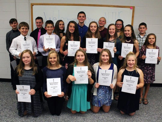 The School District of Mishicot recently welcomed 19 students into the National Junior Honor Society for the 2017-2018 school year. The NJHS creates the same opportunities for middle school students that are provided at the high school level.
