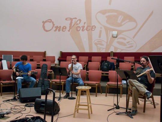 White Tie Rock Ensemble members, from left, Tyler Livingston, Mark Ellis and Jonathan Clark.